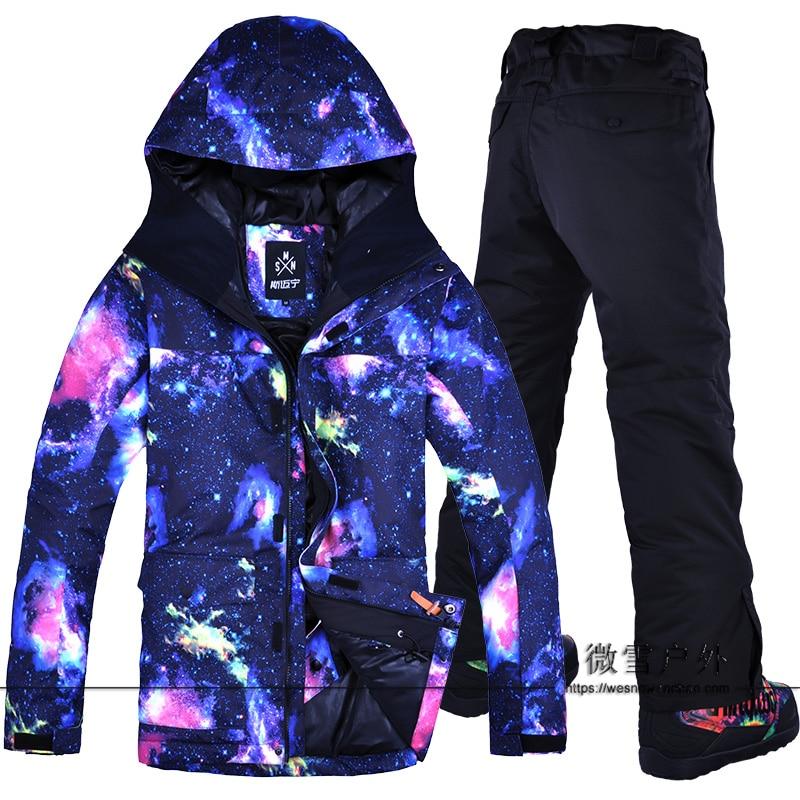 2019 Men Ski Jacket Pant Windproof Waterproof Winter Clothing Trouser Super Warm Male Skiing Snowboard Suit Outdoor Sport Wear