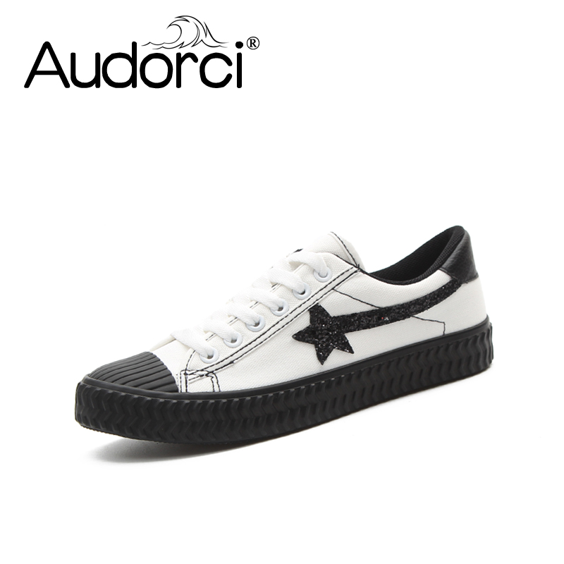 Audorci 2018 Spring Woman Low Canvas Shoes Students Canvas Small White Shoes Women Clasic Casual Board Shoe Size 35-40 e lov women casual walking shoes graffiti aries horoscope canvas shoe low top flat oxford shoes for couples lovers