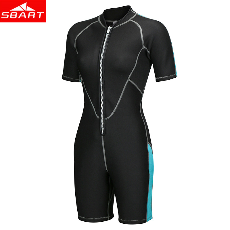 SBART 2mm Neoprene Wetsuits Men Women's Swimming Wet Suits One-Piece Thicken Swimsuit Short Sleeve Deep Diving Surfing Wetsuits