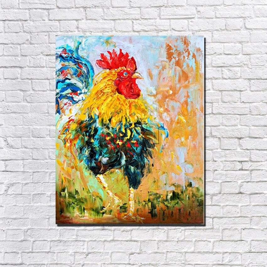 Grande taille peinture avec cadre prêt à accrocher plusieurs Style peintures à l'huile cerf cheval vache poulet décor à la maison peint à la main photos