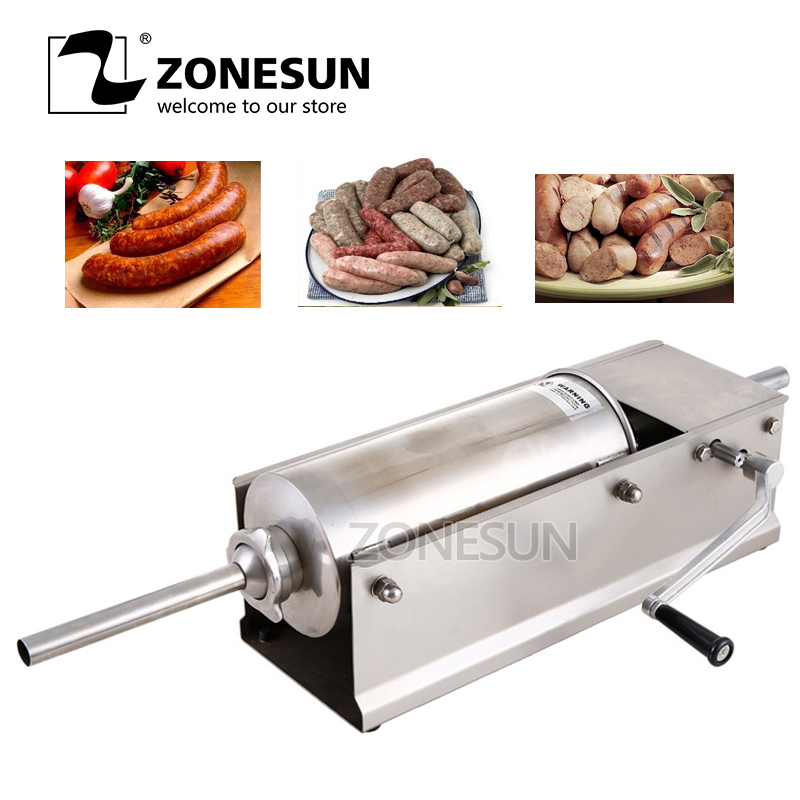 ZONESUN SF5-H Horizontal Type Manual Sausage Stuffer Stainless Steel Sausage Stuffer Meat FillerZONESUN SF5-H Horizontal Type Manual Sausage Stuffer Stainless Steel Sausage Stuffer Meat Filler