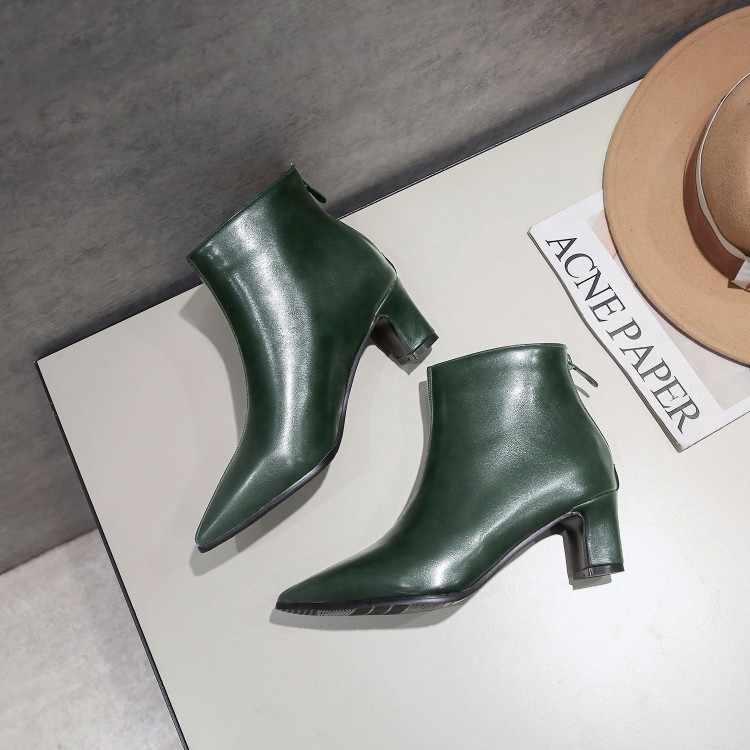 Große Größe 9 10 11-17 stiefel frauen schuhe stiefeletten für frauen damen stiefel Hinten zipper wies platz ferse