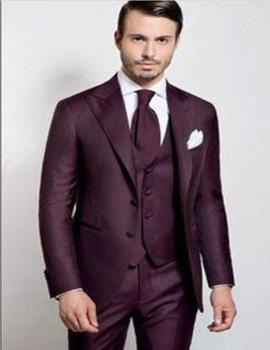 High Quality Two Buttons Burgundy Groom Tuxedos Peak Lapel Groomsmen Best Man Wedding Prom Dinner Suits(Jacket+Pants+Vest+tie)