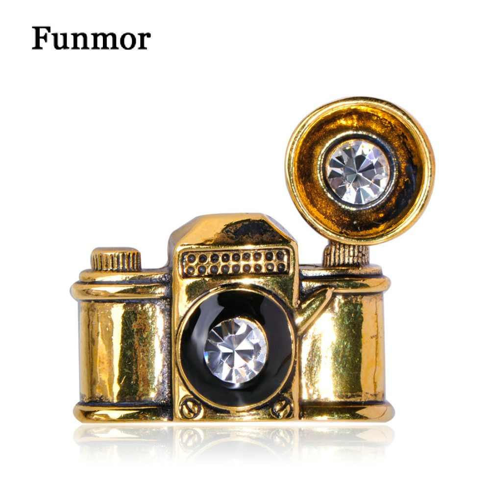 the latest 35ade 47c02 ... FUNMOR Vintage old Camera Shape Brooch Antique Gold Color Enamel Retro  Crystal Brooches Parents Kids Anniversary ...