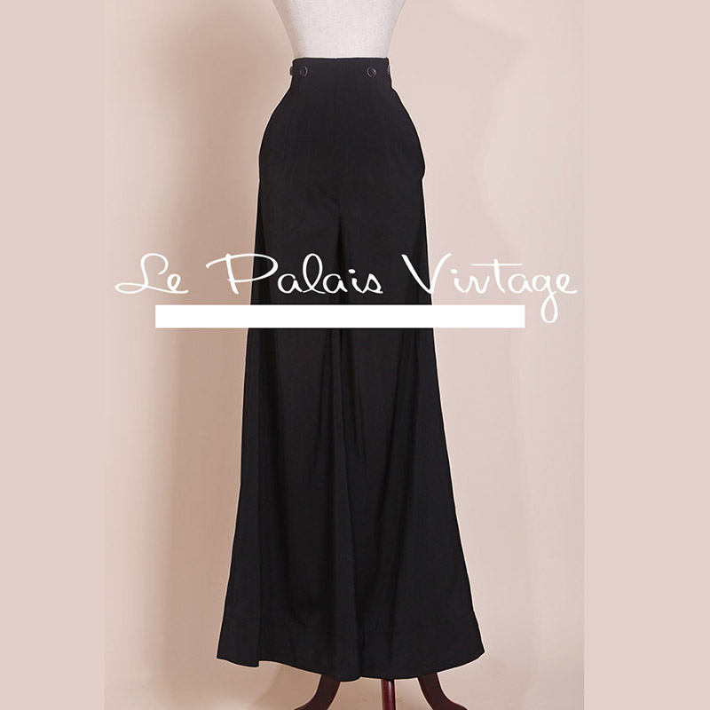 Le Palais winter Vintage limited edition retro all-match elegant high waisted significantly thin wide leg pants