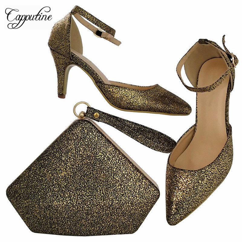 Capputine Hot Selling PU Leather Woman Shoes And Bag Set Italian Style Woman High Heels Shoes And Matching Set For Party BCH-30 capputine new italian woman pu leather shoes and shopping big bag set african fashion high heels shoes and bag set for party