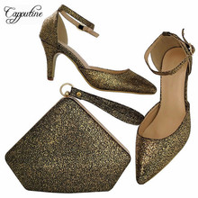 Capputine Hot Selling PU Leather Woman Shoes And Bag Set Italian Style Woman High Heels Shoes