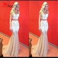 Dos Piezas de Vestidos de Baile 2017 Popular Cariño Apliques de Encaje Vestidos de Baile de Tul Champagne Sirena Larga vestido de Tirantes de Espagueti