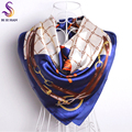 Brand Chain Silk Scarf New Design Blue White Women Satin Square Scarves Wraps Hot Sale Ladies Headscarves For Spring Autumn