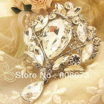 Alta calidad gran gota de agua colgante de cristal gran broche lujo boda mujeres fiesta ramo Pin