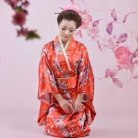 Floral Japanese Women Vintage Original Yukata Traditional Kimono With Obi Lady Cosplay Costume Classic Evening Party Dress