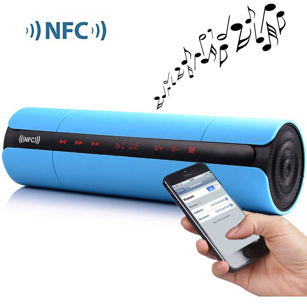 Portable KR8800 Wireless Bluetooth Speaker with LCD Screen FM Radio NFC Function Touch Buttons for Music