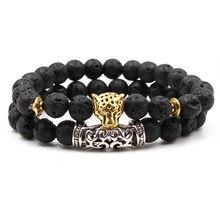 Hot Sale Fashion Charm Volcanic Lava Mens Bracelets 2019 Leopard Head Natural Stone Bracelet For Men On The Arm Jewelry
