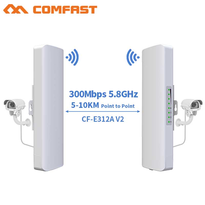 2pcs 300Mbps 5.8G Outdoor Long Range Wifi Transmission Access Point Wifi Bridge Repeater Router 48V POE AP 500mW Wi Fi Antenna