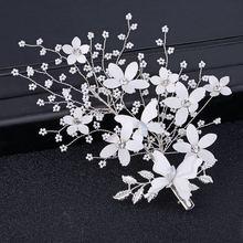 купить bride wedding accessories handmade pearl  hair bride headdress flower hairpin side hairpins hair carab comb H047 дешево