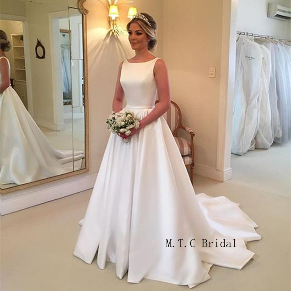 2019 Hot Selling White Satin Wedding Dress Backless Sweep Train A Line Floor Length Simple Bridal