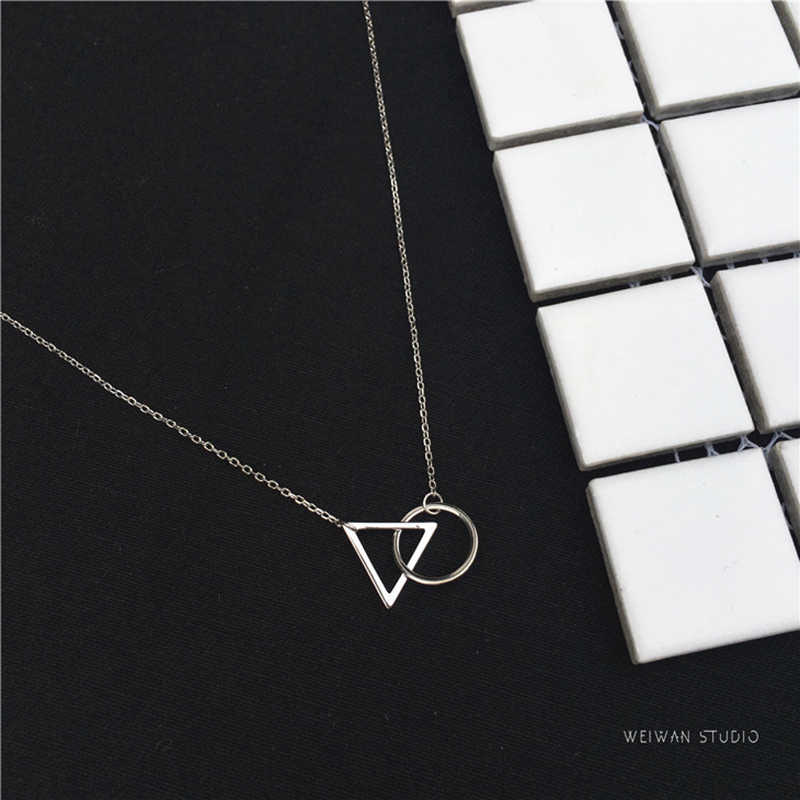 XIYANIKE 925 Sterling Silver Short Necklace Minimalist Clavicle Chain Female Triangle Round Pendant Resistance To Fade VNS8295