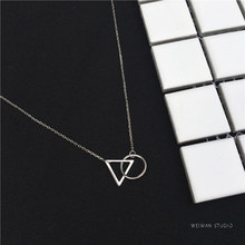 XIYANIKE 925 Sterling Silver Short Necklace Minimalist Clavicle Chain Female Triangle Round Pendant Resistance To Fade VNS8295(China)