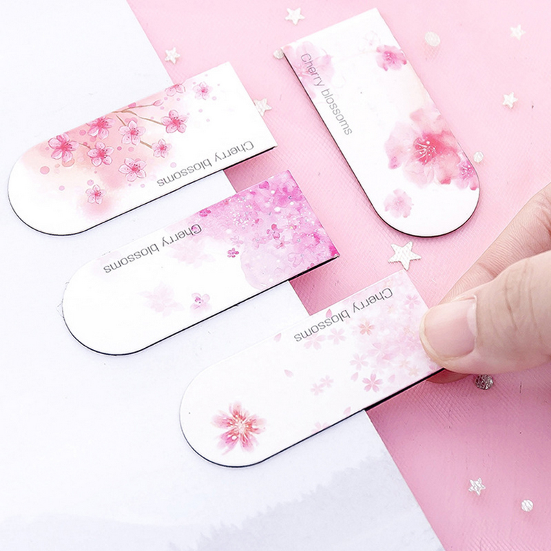Pink Flower Beautiful Cherry Blossom Magnetic Force Bookmark Material Escolar Magnetic Bookmarks For Book Stationery
