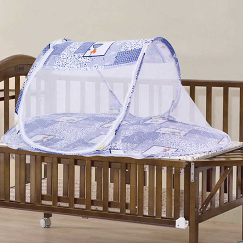 3 Colors Portable Baby Bed Crib Folding Mosquito Net Cushion Mattress Summer Baby Infants Mosquito Polyester Mesh Crib Netting Crib Netting