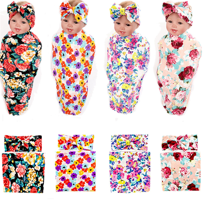 2Pcs Baby Blanket Newborn Kids Girls Headband Swadding Floral Muslin Cotton Wrap Swaddling Blanket Towel Baby Bedding pink floral towels