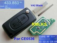 RMLKS ASK 433mhz Uncut Blade Auto Car Flip Folding Remote Key Fob PCF7961 Chip Fit For Peugeot For Citroen CE0536 Model