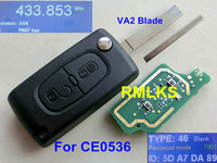 CE0523 Cheap 2 Button Flip Remote Key Citroen 433mhz With ID46 Chip VA2 307 Blade For
