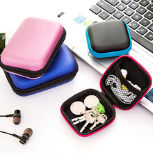 купить Portable Headphones Earphone Bag Cable Earbuds Storage Hard Case Travel Key Coin Bag SD Card Holder Box дешево