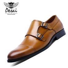 DESAI di Marca Del Cuoio Genuino Doppie Fibbie Scarpe di Vestito degli  uomini Degli Uomini Convenzionali di Monaco Scarpe Scarpe. e2ed54fa709