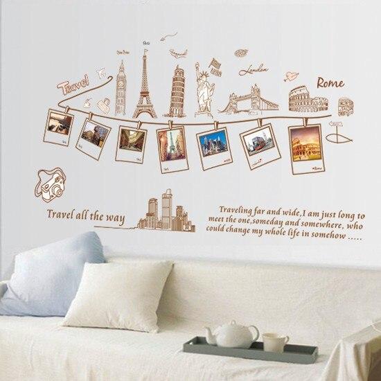 Décoration de Mur de Vinyle Autocollant Voyage Tout le Chemin Heureux Souvenirs Photos Chambre Sticker Art Mural Wallpaper