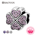 BAOYAN 925 Sterling Silver Sparkling Pink & Purple Clear CZ Clover Charm Fit Bracelet Jewelry Making Bead N2