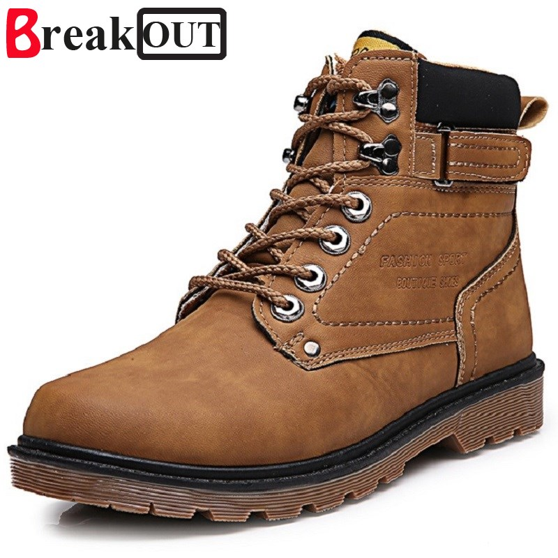 Break Out New Men Boots Men Spring Autumn High Top Leather Boots Waterproof Lace Up Fashion