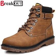 Romper Los Nuevos Hombres Botas de Los Hombres de Primavera y Otoño Del Top Del Alto Ata Para Arriba Botas de Moda Botas de Cuero A Prueba de agua para Los Hombres zapatos