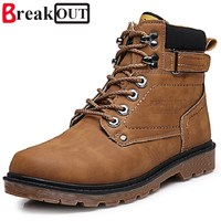 2017 New Men Boots Men Spring Autumn High Top Leather Boots Waterproof Lace Up Fashion Boots