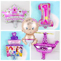 5pcs/lot mini foil balloons baby shower party princess ballons girls 1st Birthday Party Decor Angle baby girls king crown globos