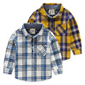 2016 новых детских футболки для мальчиков весна осень длинные рукава дети мода блузка хеджирования плед хлопок детская одежда
