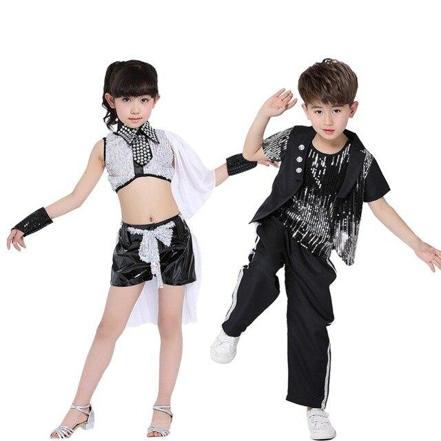98a1733c23e2 Children Sequin Hip Hop Costumes Boys Girls Dance Wear Kids Jazz ...