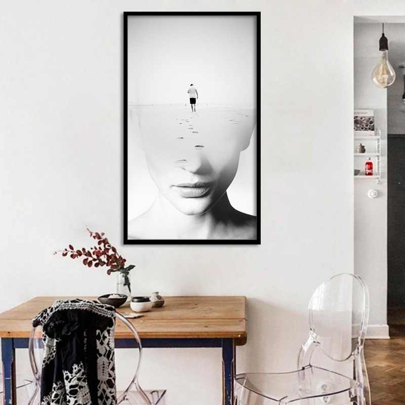 Desert Journey Abstract Brainstorming Art Wall Pictures And Prints Woman Face Poster For Office Room Decor Minimalist Picture