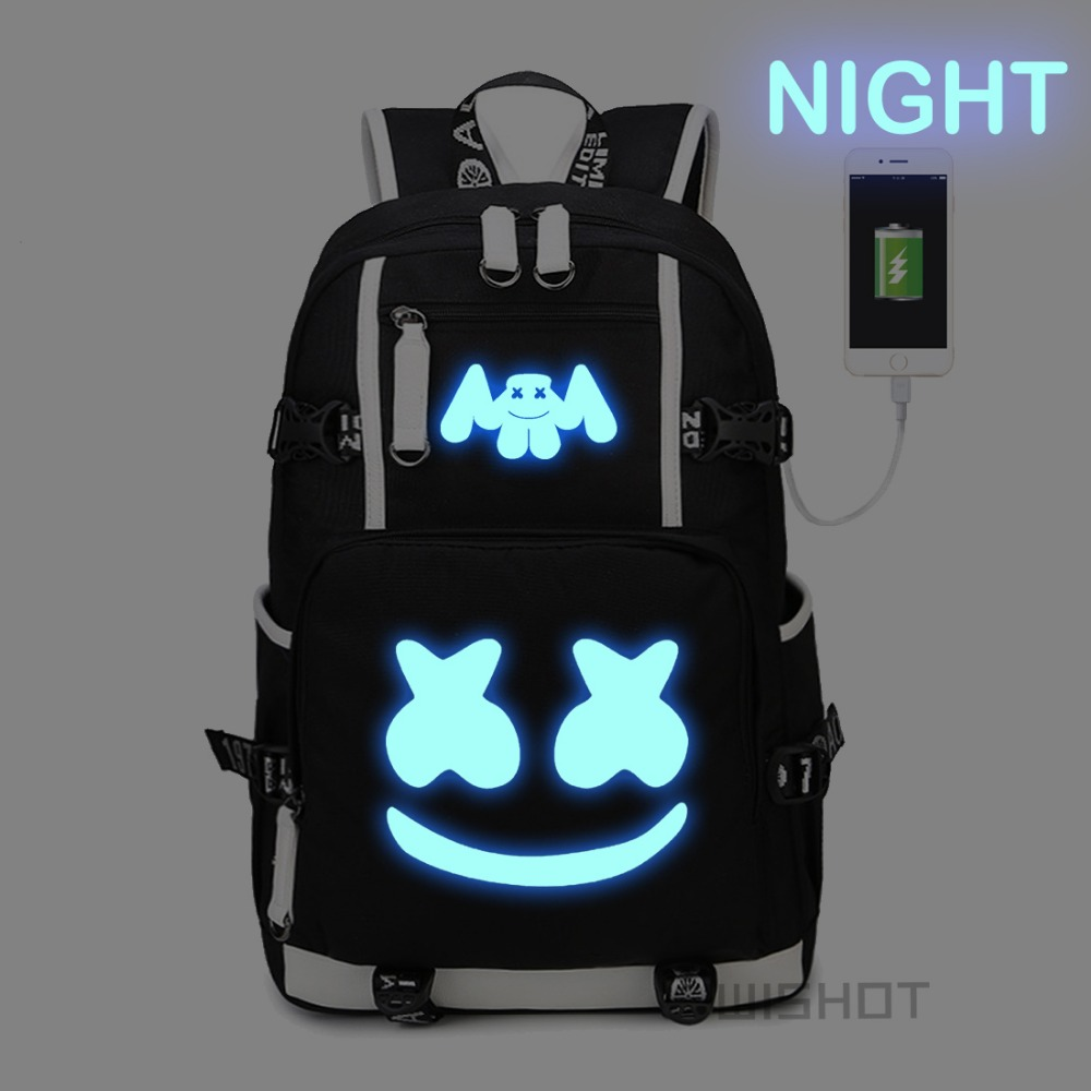Wishot Marshmello Backpack Multifunction Usb Charging  Backpa  For Teenagers Men Women's Student School Bags Travel Luminous Bag