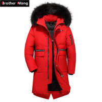 2018 Winter New Men Long White Duck Down Jacket Casual Real Fur Collar Thicken Warm Hooded Pattern Red Coat Male Brand Clothing