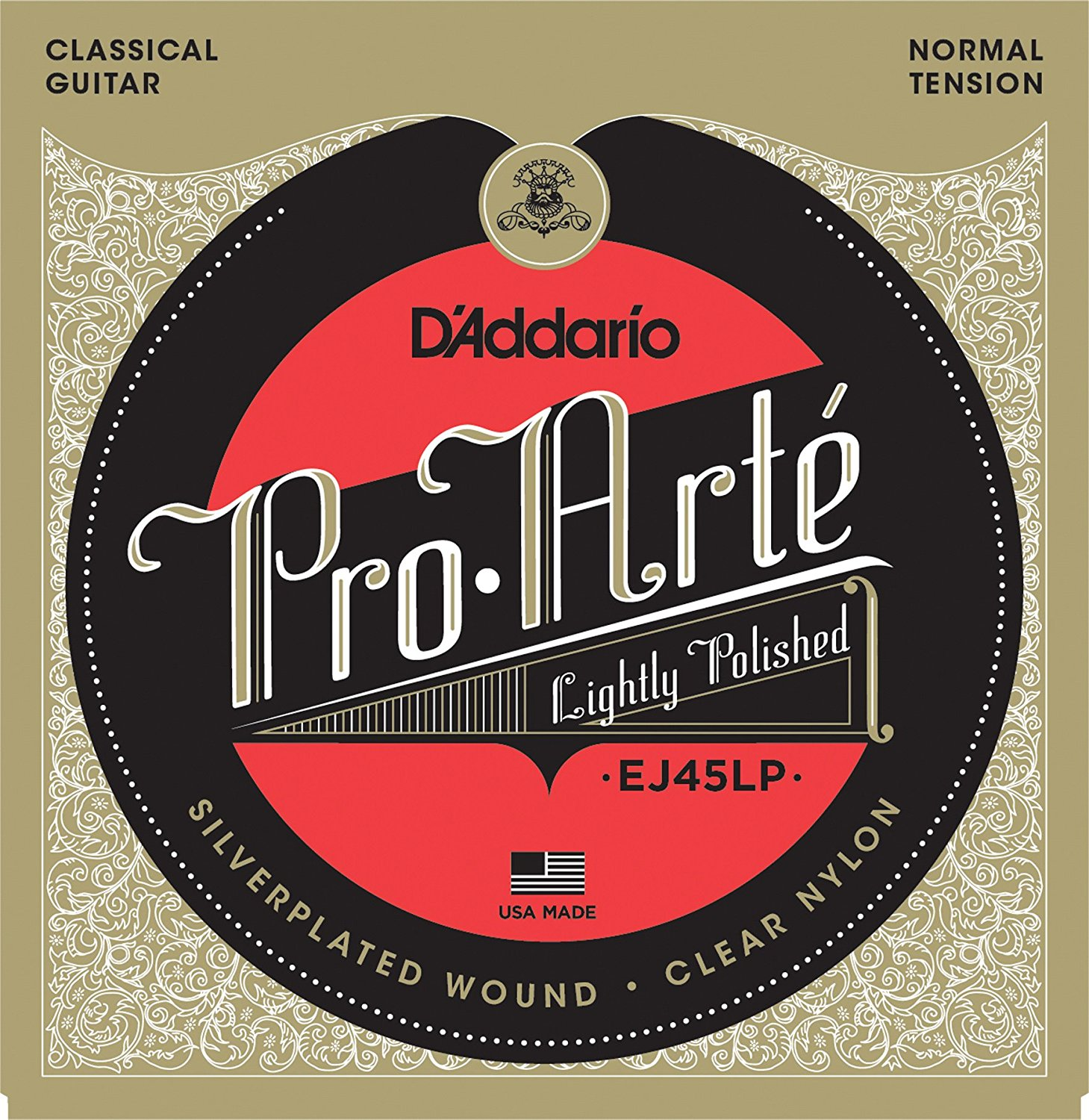 D'Addario EJ45LP Pro-Arte Composite Classical Guitar Strings, Normal Tension classical guitar strings set cgn10 classic nylon silver plated normal tension 028 045 classical guitar strings 6strings set
