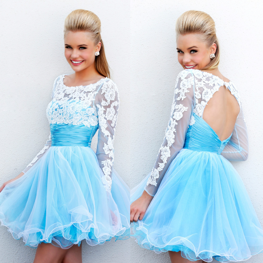 Long Sleeves Backless Short Prom Dress 2015 Blue White Lace Open ...