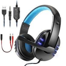 Best Gaming Headset Gamer casque Deep Bass Gaming Headphones for Computer PC PS4 Laptop Notebook Xbox One with Microphone LED(China)