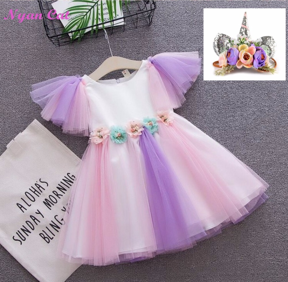 Free delivery 2018 new Unicorn Tulle Dress Princess Wear colorful rainbow dress Unicorn headwear 1-4y Baby Dress Baby Clothing