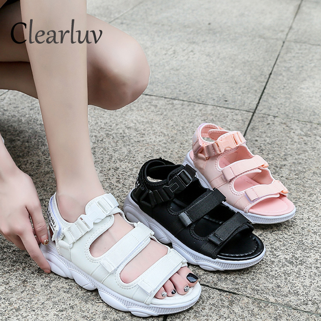 Summer muffin soft bottom color matching open toe casual non-slip sports sandals hollow increased cloth comfortable sandalsSummer muffin soft bottom color matching open toe casual non-slip sports sandals hollow increased cloth comfortable sandals