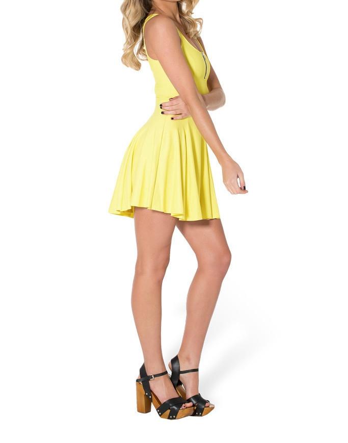 SheOutfit 2014 Winter Dresses Casual Skater Dress Matte Yellow Evil ... e5fdd3b00