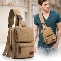 XINCADA Vintage Retro Style Crossbody Cross body Sling Bag Small Messenger Man Purse Shoulder Travel Chest Bag for Men Murse