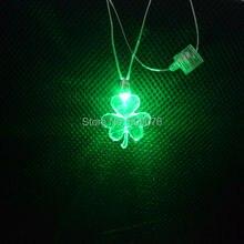Светодиодный вечерние ожерелья зеленый свет загорается Клевер шнурки флэш-повезло трава шнурки на День Святого Патрика