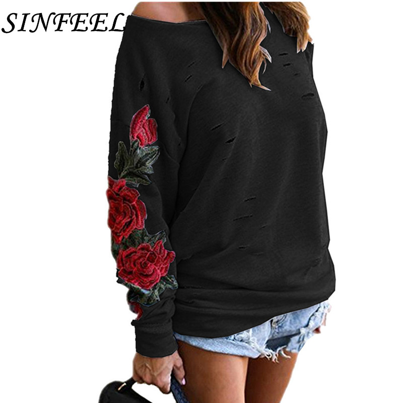 S-5XL Spring Sexy Off Shoulder Long Sleeve Autumn Sweatshirts Women Korean Loose Embroidery Hoodies Female Casual Tops Plus Size