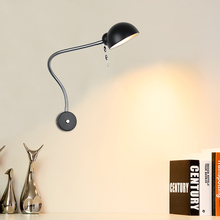 Modern Industrial Retro Adjustable Swing Arm Wrought Iron White/Black/Silvery Painted Wall Sconce LED Wall lamp for Reading Room retro bronze single swing arm wall lamp for bedroom bedside adjustable wall mount swing arm lamp